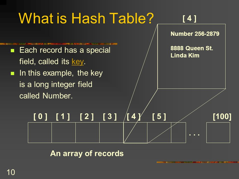 10 What is Hash Table. Each record has a special field, called its key.