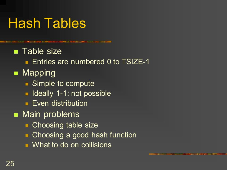 25 Hash Tables Table size Entries are numbered 0 to TSIZE-1 Mapping Simple to compute Ideally 1-1: not possible Even distribution Main problems Choosing table size Choosing a good hash function What to do on collisions