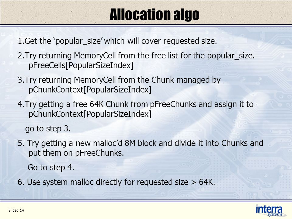 Slide: 14 Allocation algo 1.Get the popular_size which will cover requested size.