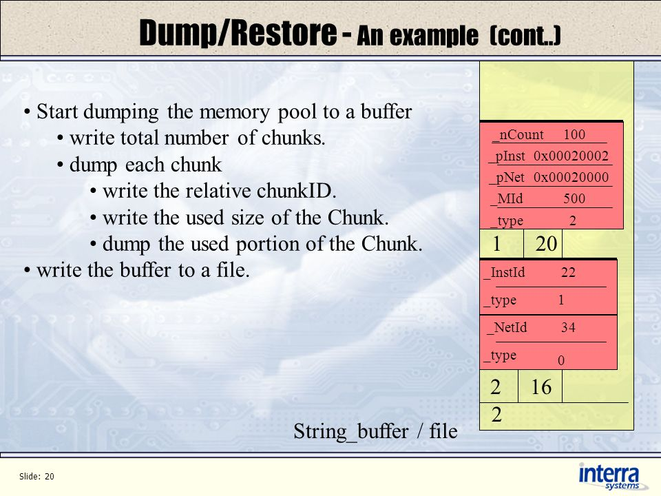 Slide: 20 Dump/Restore - An example (cont..) _type _InstId _NetId 1 0 22 34 Start dumping the memory pool to a buffer write total number of chunks.