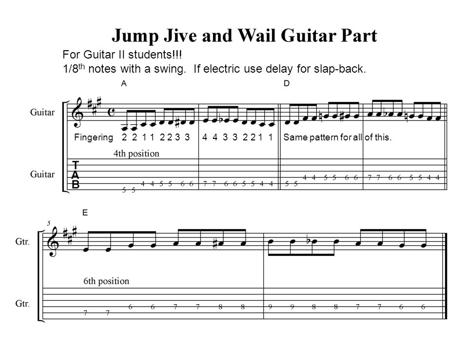 For Guitar II students!!. 1/8 th notes with a swing.