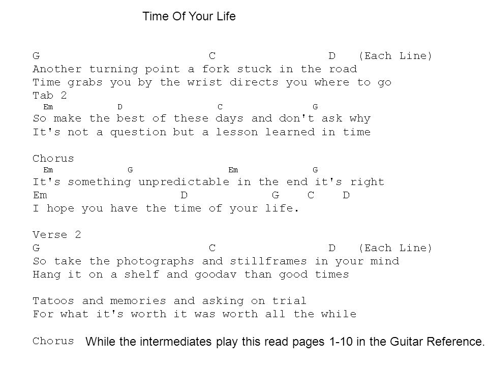 Time Of Your Life While the intermediates play this read pages 1-10 in the Guitar Reference.