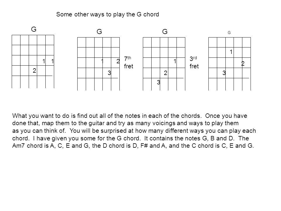 G G G G 1 2 1 2 3 1 2 3 7 th fret 3 rd fret 1 2 3 Some other ways to play the G chord What you want to do is find out all of the notes in each of the chords.