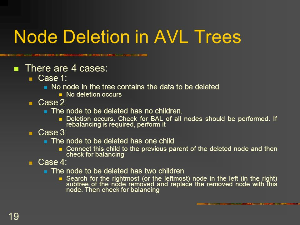 19 Node Deletion in AVL Trees There are 4 cases: Case 1: No node in the tree contains the data to be deleted No deletion occurs Case 2: The node to be deleted has no children.