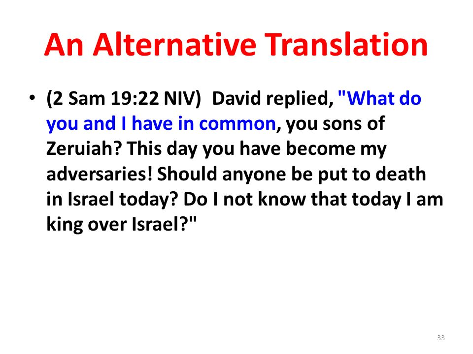 An Alternative Translation (2 Sam 19:22 NIV) David replied, What do you and I have in common, you sons of Zeruiah.