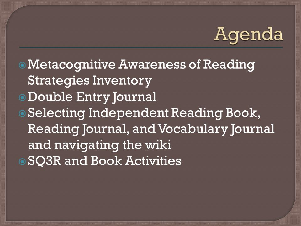 Metacognitive Awareness of Reading Strategies Inventory Double Entry Journal Selecting Independent Reading Book, Reading Journal, and Vocabulary Journal and navigating the wiki SQ3R and Book Activities