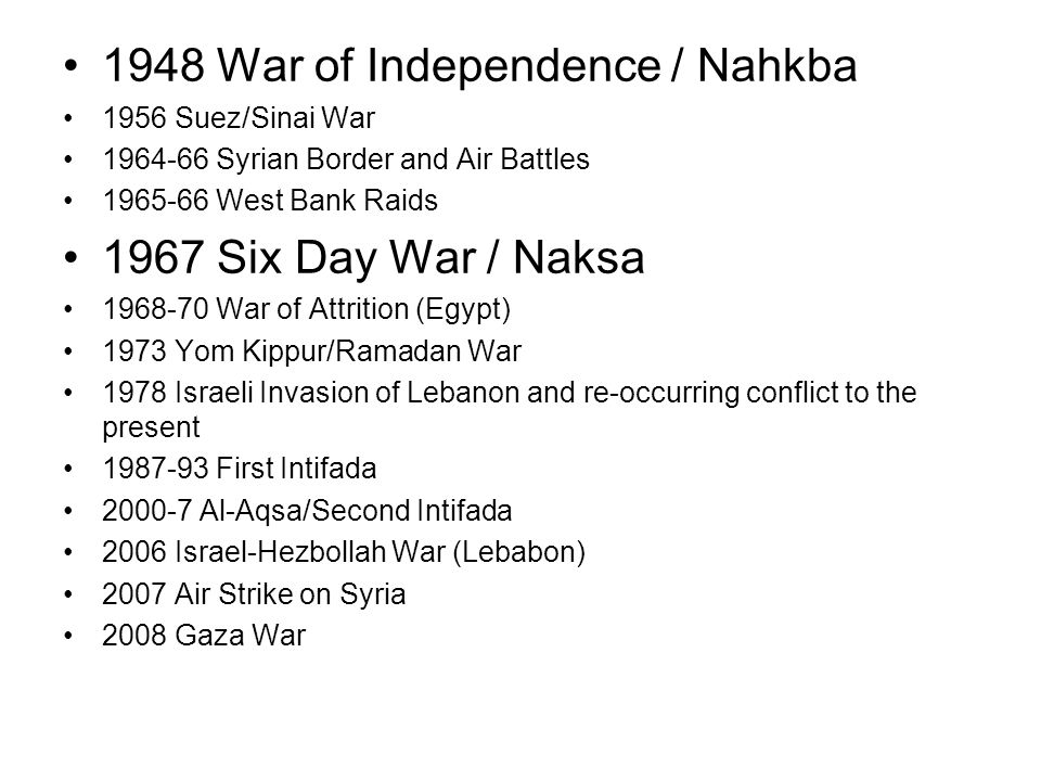 1948 War of Independence / Nahkba 1956 Suez/Sinai War Syrian Border and Air Battles West Bank Raids 1967 Six Day War / Naksa War of Attrition (Egypt) 1973 Yom Kippur/Ramadan War 1978 Israeli Invasion of Lebanon and re-occurring conflict to the present First Intifada Al-Aqsa/Second Intifada 2006 Israel-Hezbollah War (Lebabon) 2007 Air Strike on Syria 2008 Gaza War