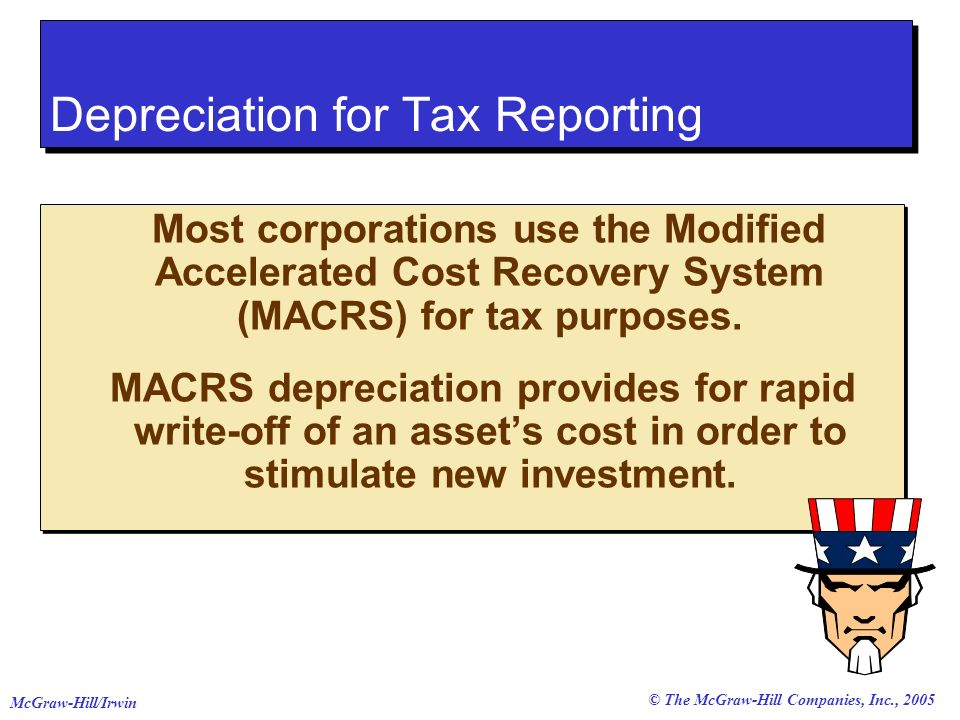© The McGraw-Hill Companies, Inc., 2005 McGraw-Hill/Irwin Most corporations use the Modified Accelerated Cost Recovery System (MACRS) for tax purposes.