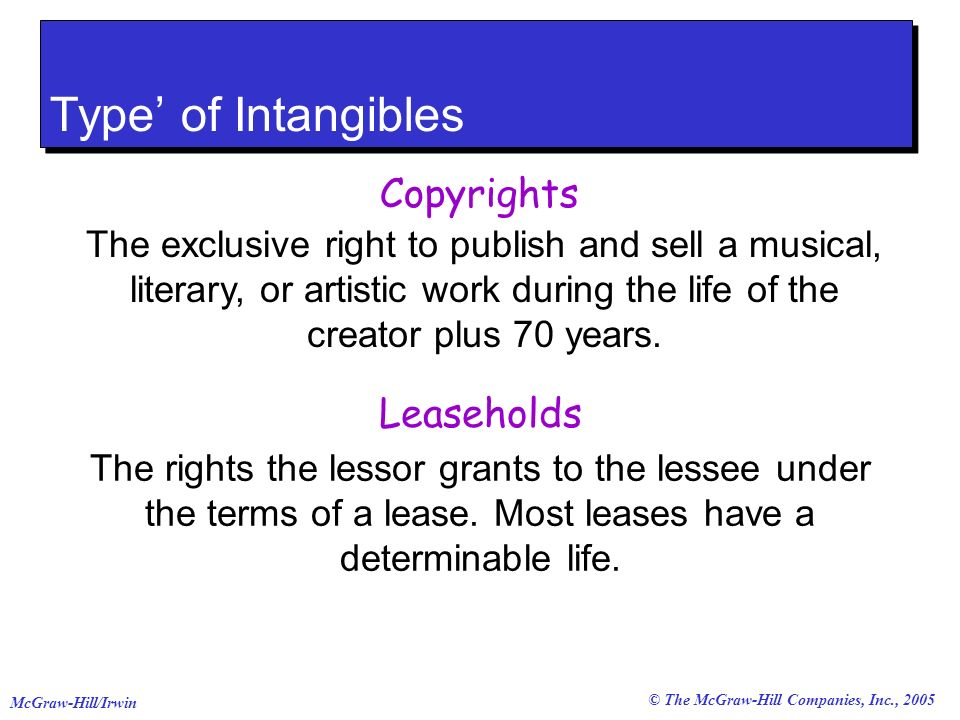 © The McGraw-Hill Companies, Inc., 2005 McGraw-Hill/Irwin Type of Intangibles Copyrights The exclusive right to publish and sell a musical, literary, or artistic work during the life of the creator plus 70 years.