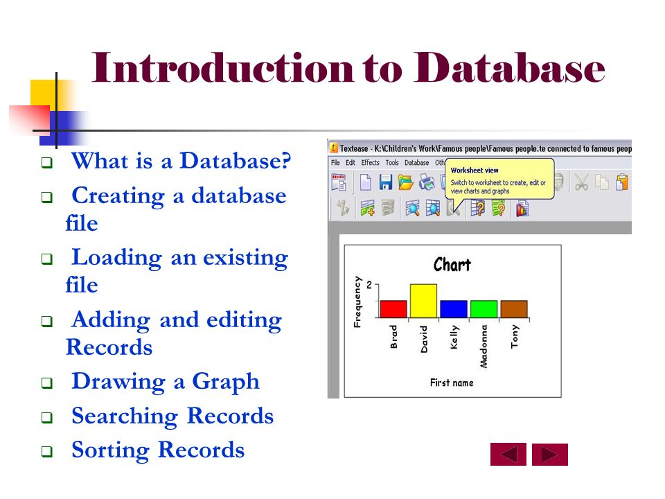 Introduction to Database What is a Database.