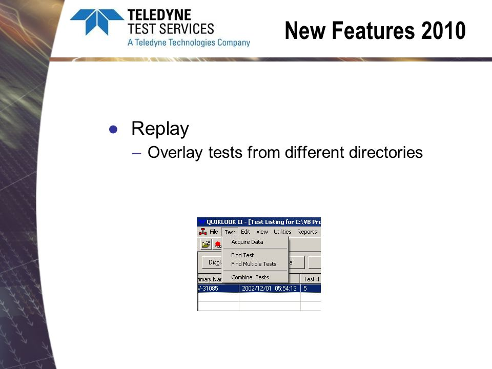 Replay –Overlay tests from different directories