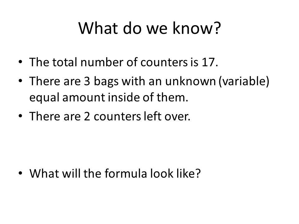 What do we know. The total number of counters is 17.