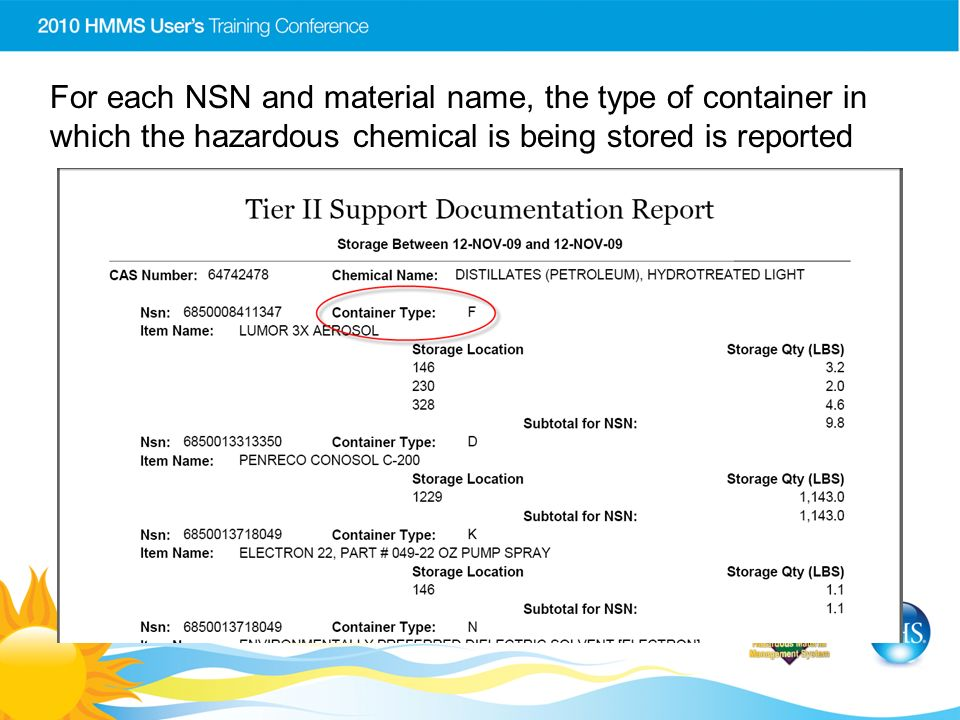 For each NSN and material name, the type of container in which the hazardous chemical is being stored is reported