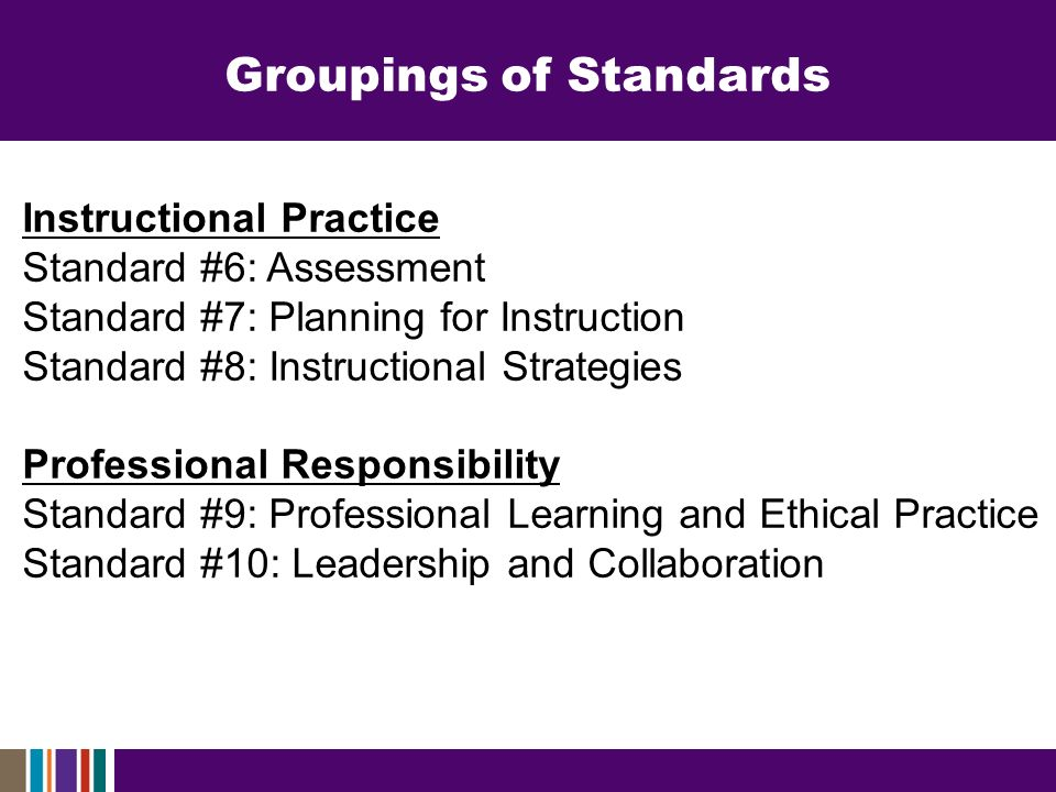 Instructional Practice Standard #6: Assessment Standard #7: Planning for Instruction Standard #8: Instructional Strategies Professional Responsibility Standard #9: Professional Learning and Ethical Practice Standard #10: Leadership and Collaboration