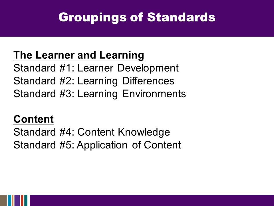 The Learner and Learning Standard #1: Learner Development Standard #2: Learning Differences Standard #3: Learning Environments Content Standard #4: Content Knowledge Standard #5: Application of Content Groupings of Standards