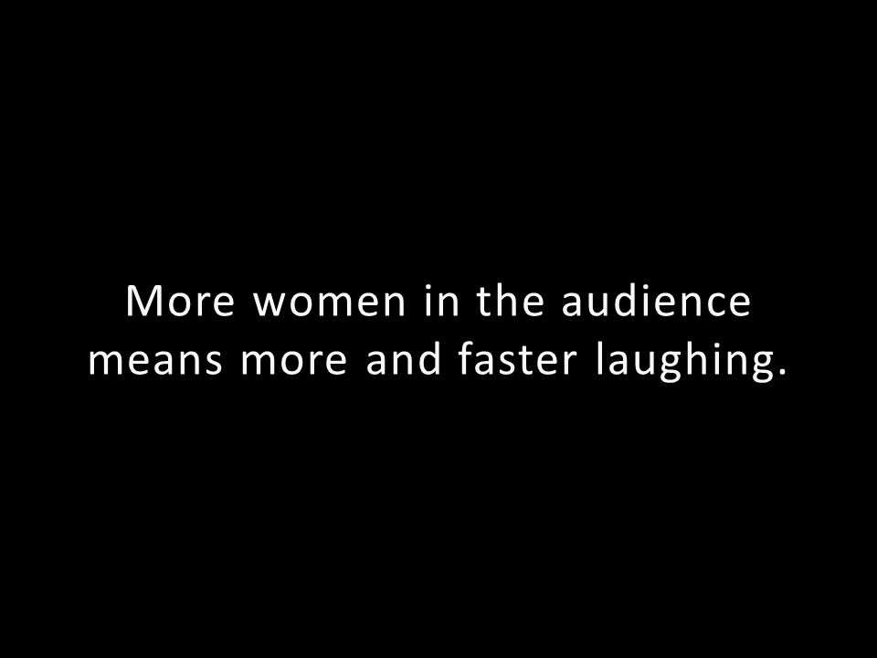 More women in the audience means more and faster laughing.