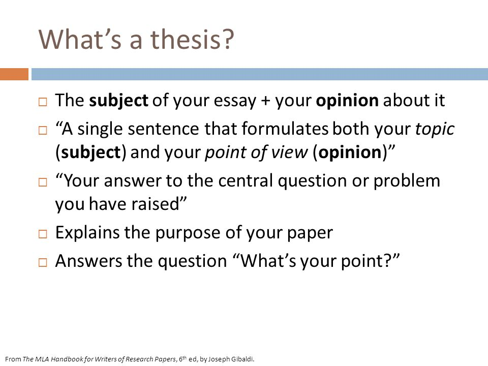 Whats a thesis.