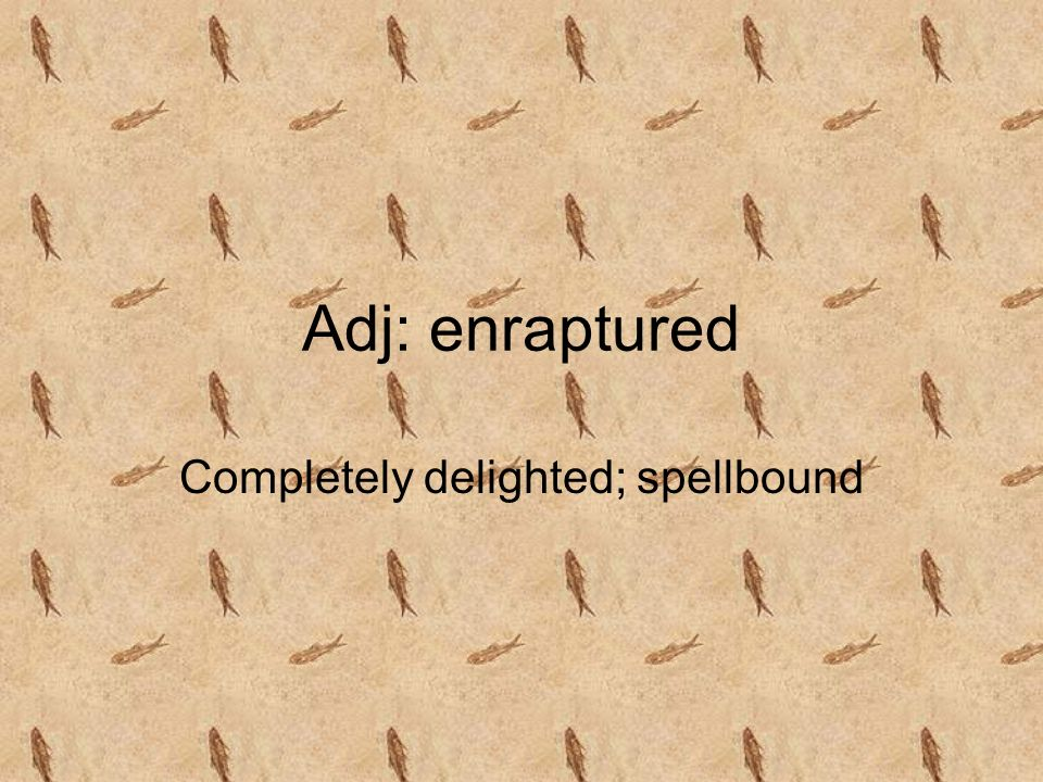 Adj: enraptured Completely delighted; spellbound