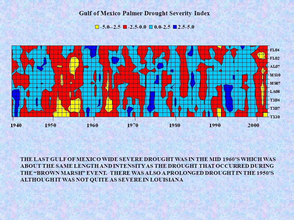 THE LAST GULF OF MEXICO WIDE SEVERE DROUGHT WAS IN THE MID 1960S WHICH WAS ABOUT THE SAME LENGTH AND INTENSITY AS THE DROUGHT THAT OCCURRED DURING THE BROWN MARSH EVENT.