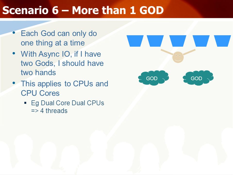 Scenario 6 – More than 1 GOD Each God can only do one thing at a time With Async IO, if I have two Gods, I should have two hands This applies to CPUs and CPU Cores Eg Dual Core Dual CPUs => 4 threads GOD