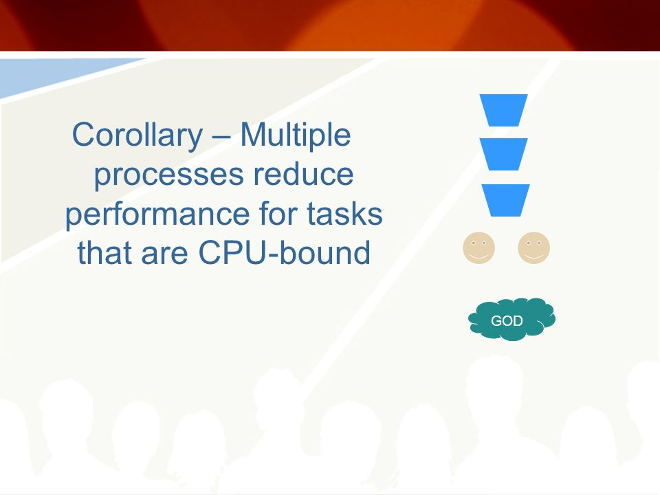 Corollary – Multiple processes reduce performance for tasks that are CPU-bound GOD