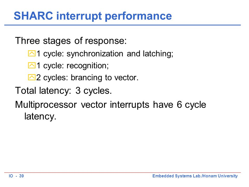 IO - 39Embedded Systems Lab./Honam University SHARC interrupt performance Three stages of response: y1 cycle: synchronization and latching; y1 cycle: recognition; y2 cycles: brancing to vector.