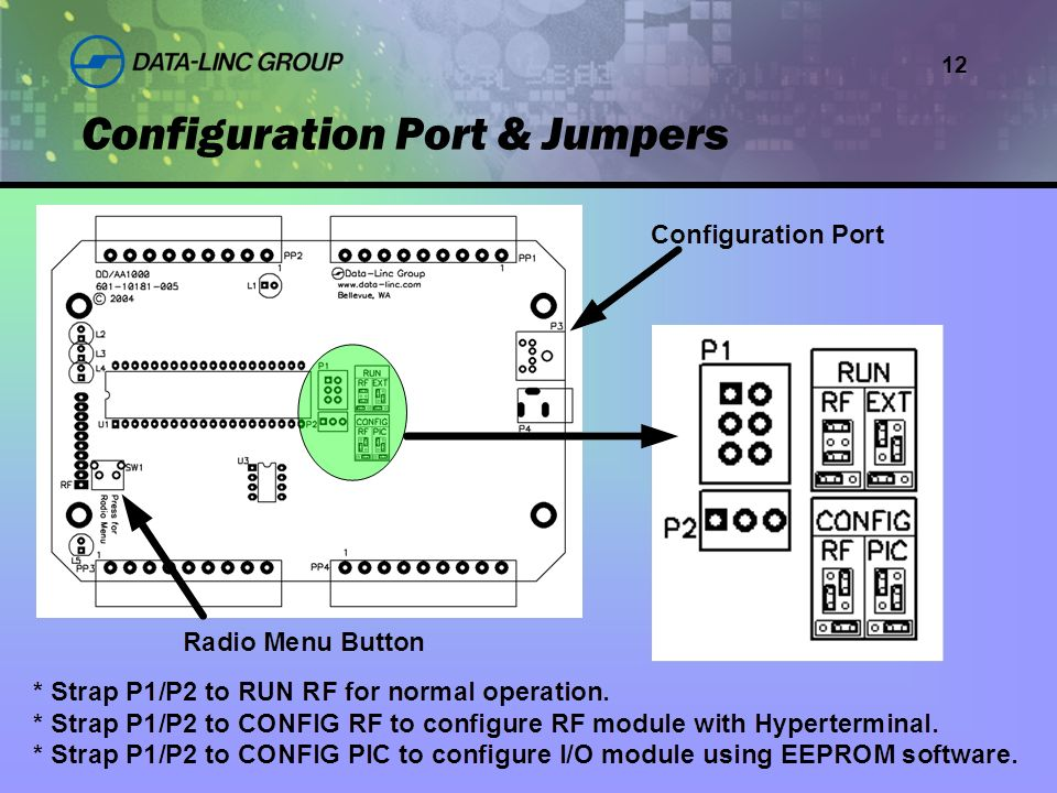 12 Configuration Port & Jumpers