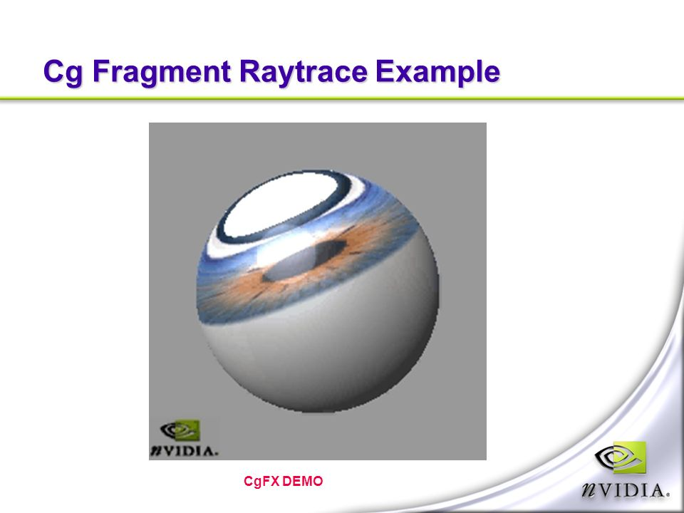 Cg Fragment Raytrace Example CgFX DEMO