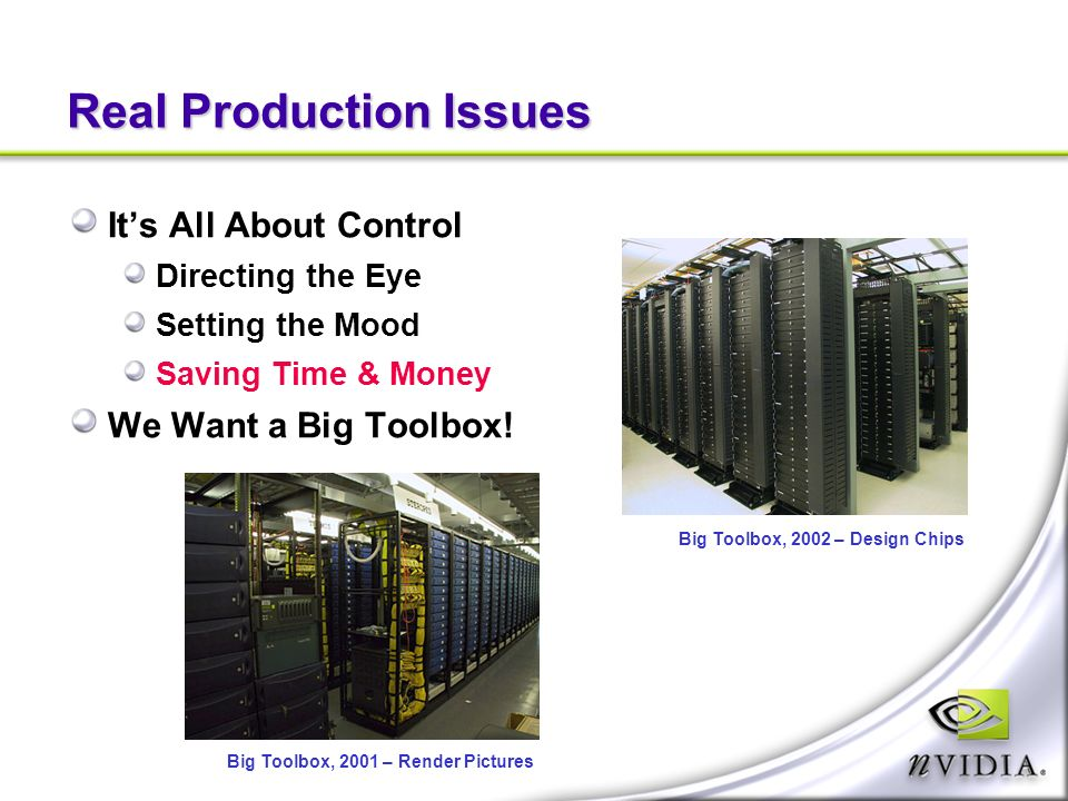 Real Production Issues Its All About Control Directing the Eye Setting the Mood Saving Time & Money We Want a Big Toolbox.