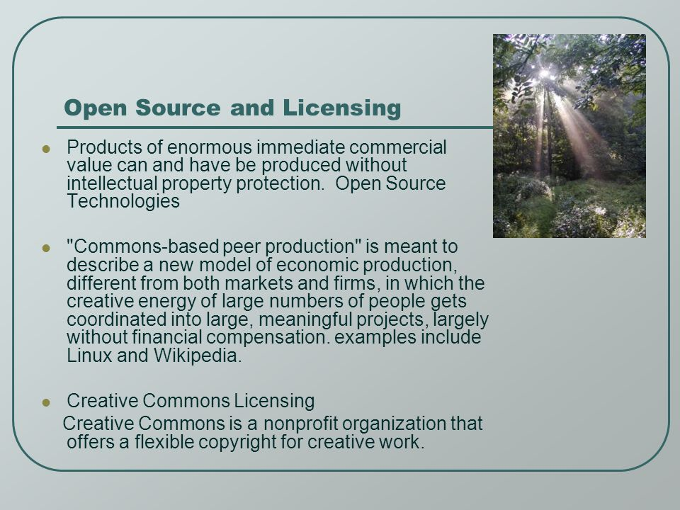 Open Source and Licensing Products of enormous immediate commercial value can and have be produced without intellectual property protection.