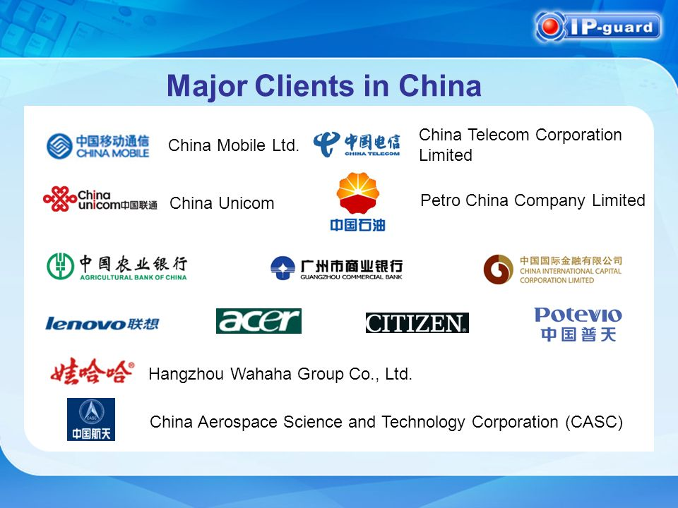 Major Clients in China China Mobile Ltd.