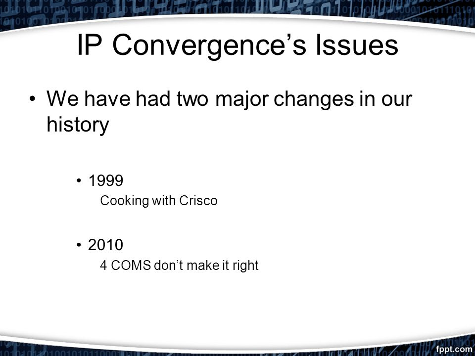 IP Convergences Issues We have had two major changes in our history 1999 Cooking with Crisco 2010 4 COMS dont make it right