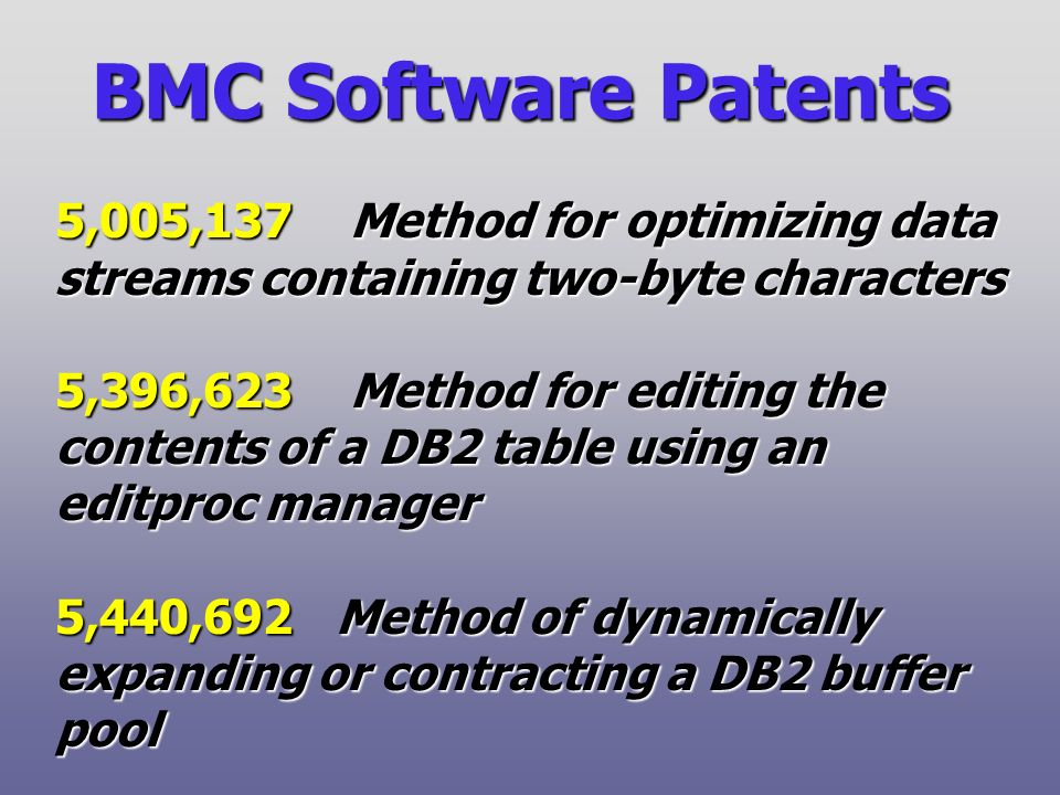 BMC Software Patents 5,005,137 Method for optimizing data streams containing two-byte characters 5,396,623 Method for editing the contents of a DB2 table using an editproc manager 5,440,692 Method of dynamically expanding or contracting a DB2 buffer pool