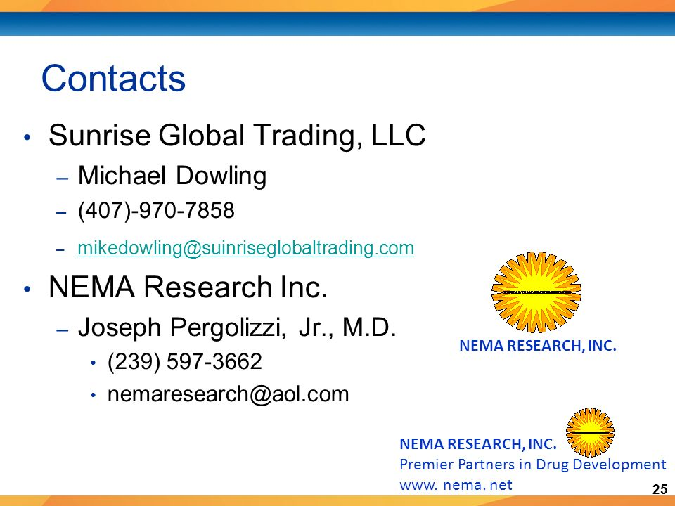 25 NEMA RESEARCH, INC. Premier Partners in Drug Development www.