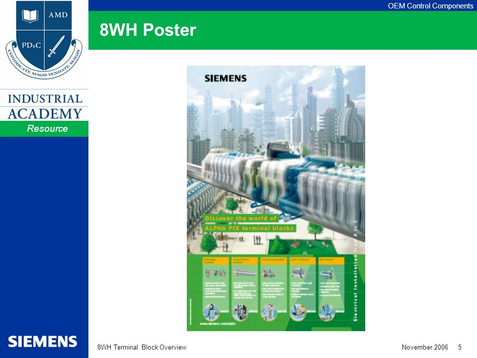 OEM Control Components 8WH Terminal Block Overview November WH Poster Resource