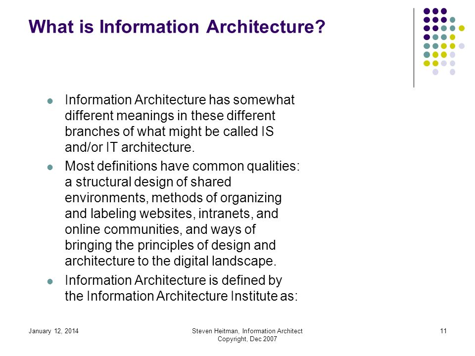 January 12, 2014Steven Heitman, Information Architect Copyright, Dec 2007 10 What is Information Architecture.