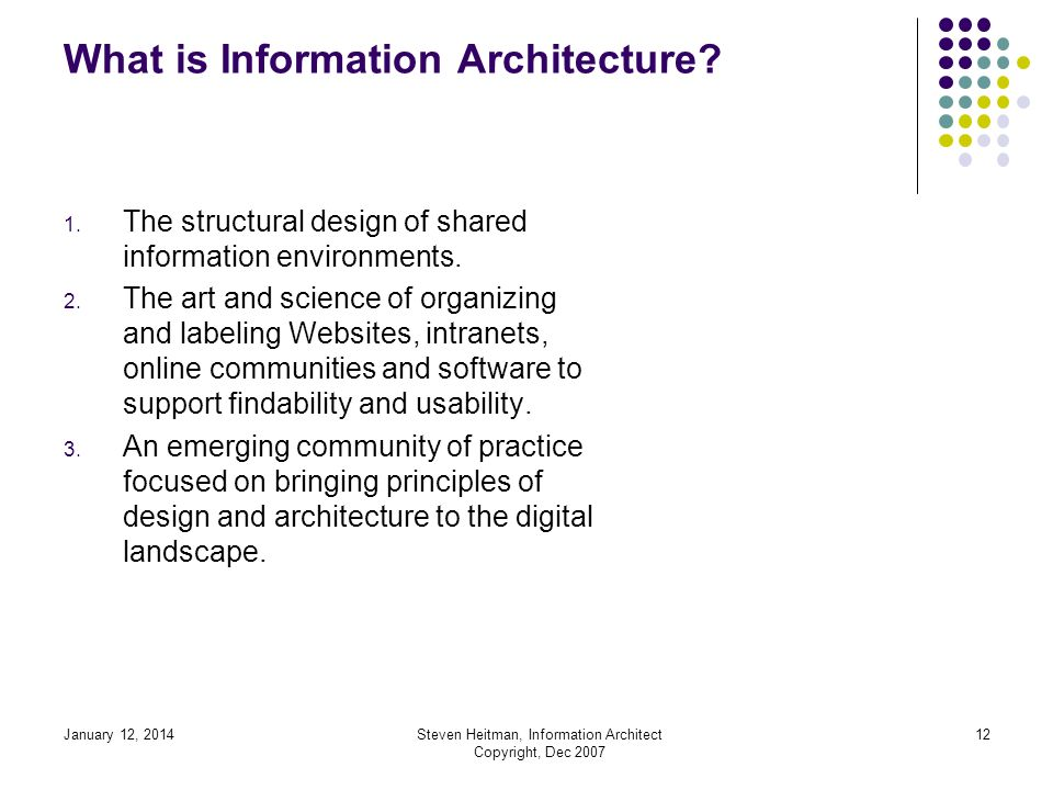 January 12, 2014Steven Heitman, Information Architect Copyright, Dec 2007 11 What is Information Architecture.