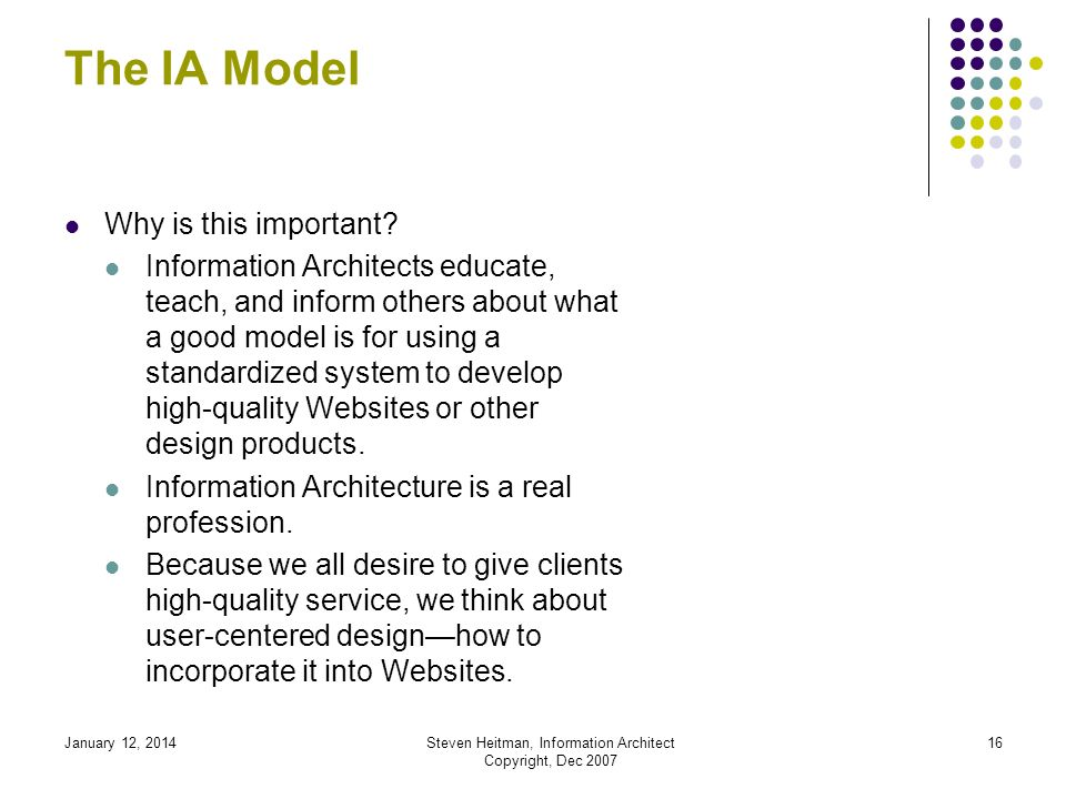January 12, 2014Steven Heitman, Information Architect Copyright, Dec 2007 15 What is Information Architecture.
