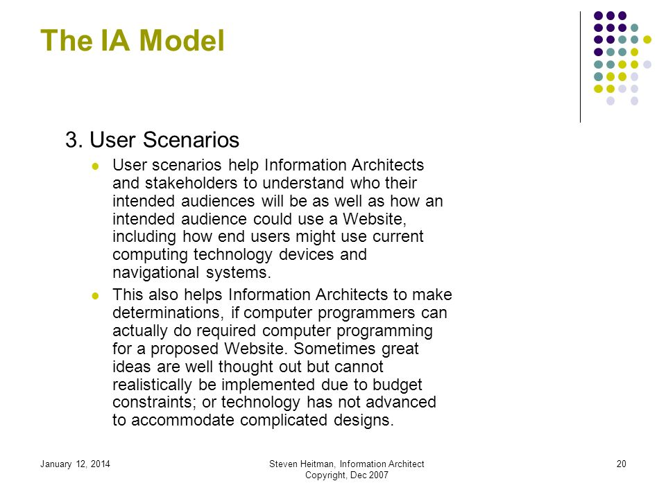 January 12, 2014Steven Heitman, Information Architect Copyright, Dec 2007 19 The IA Model 2.