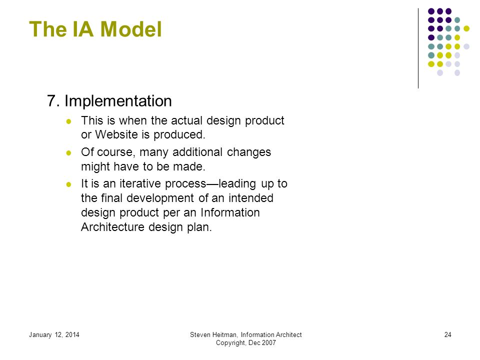 January 12, 2014Steven Heitman, Information Architect Copyright, Dec 2007 23 The IA Model 6.