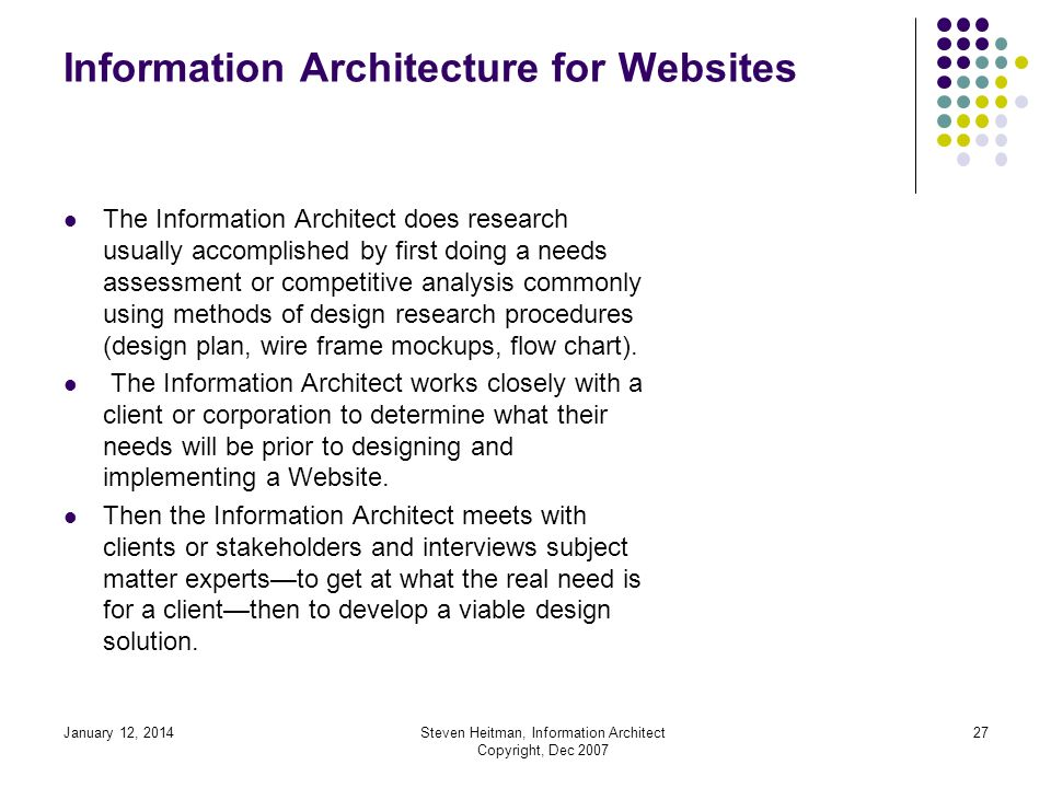 January 12, 2014Steven Heitman, Information Architect Copyright, Dec 2007 26 Information Architecture Curriculum Jakob Nielsen says: He recounts that critics may not understand the value of Information Architecture.