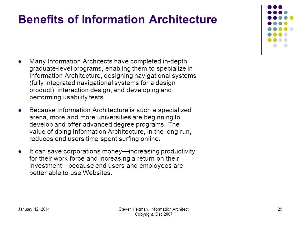 January 12, 2014Steven Heitman, Information Architect Copyright, Dec 2007 28 Benefits of Information Architecture Developing distance educational online training programs can benefit from having the Information Architecture done prior to designing a Website or other design products.