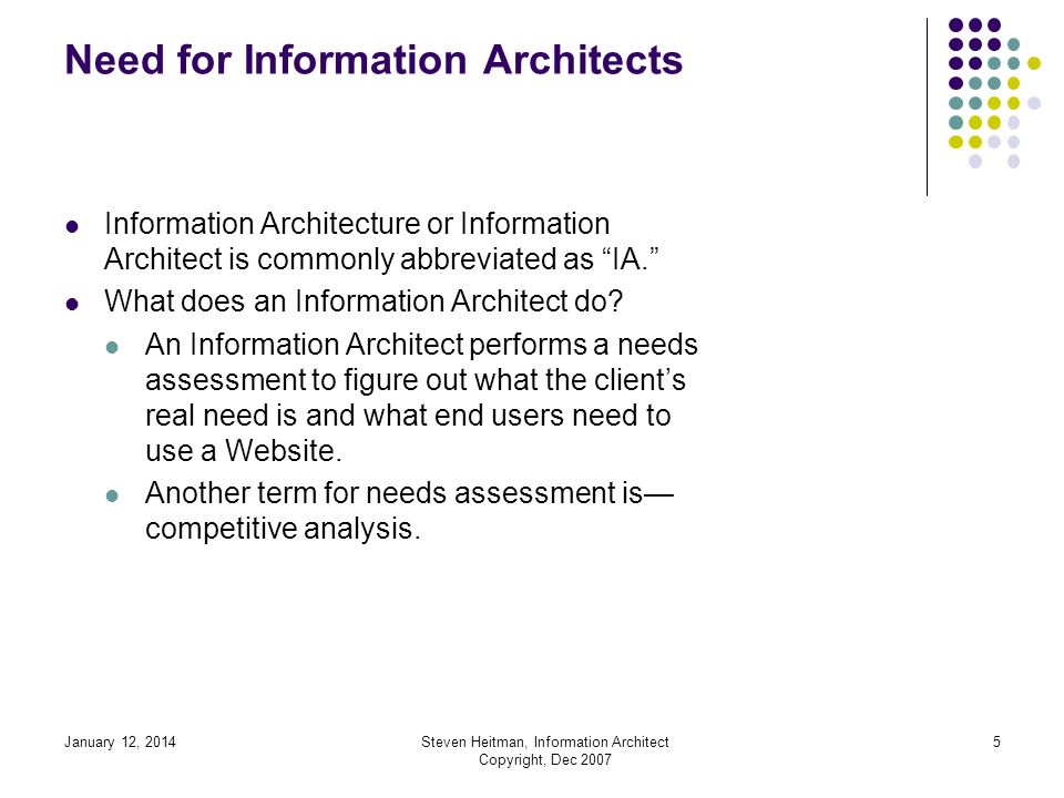 January 12, 2014Steven Heitman, Information Architect Copyright, Dec 2007 4 Need for Information Architects Information Architecture is a newly developed profession and started in 1994 with the advent of the Internet industry.