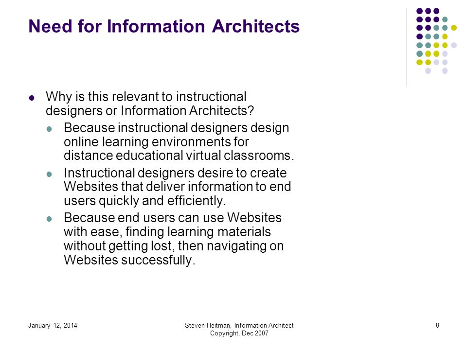 January 12, 2014Steven Heitman, Information Architect Copyright, Dec 2007 7 Need for Information Architects The point of practicing Information Architecture is to develop high-quality blueprints to promote implementing user- centered design into a Website before it is implemented.