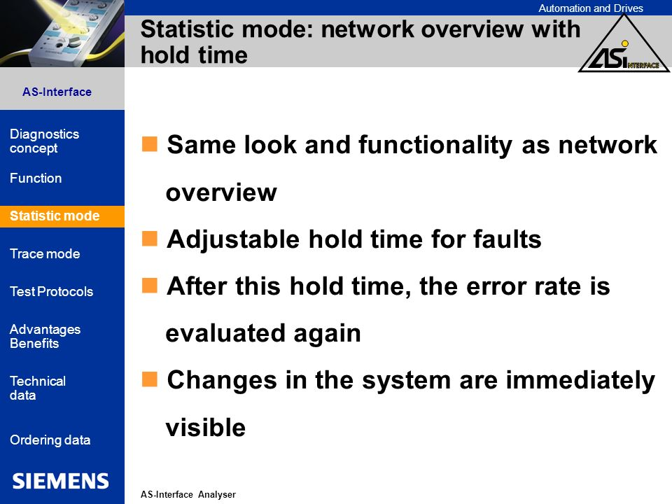 Automation and Drives AS-Interface Analyser AS-Interface Diagnostics concept Function Statistic mode Advantages Benefits Technical data Ordering data Trace mode Test Protocols Statistic mode: network overview with hold time Same look and functionality as network overview Adjustable hold time for faults After this hold time, the error rate is evaluated again Changes in the system are immediately visible Statistic mode