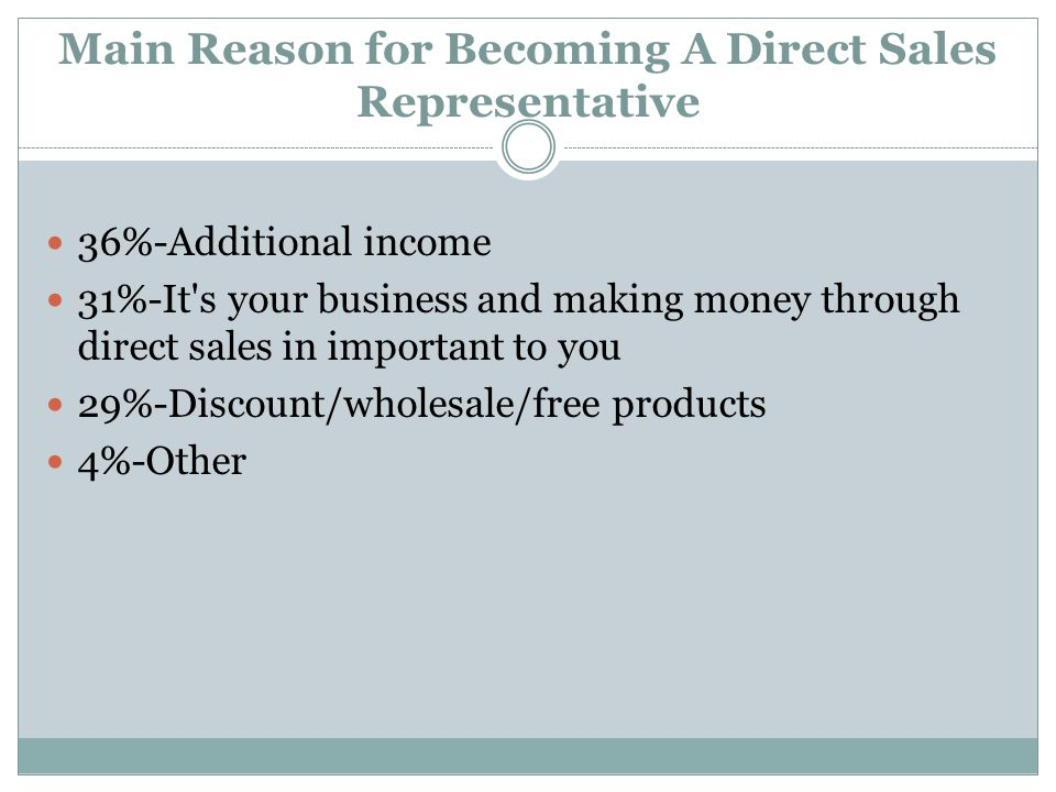 Main Reason for Becoming A Direct Sales Representative 36%-Additional income 31%-It s your business and making money through direct sales in important to you 29%-Discount/wholesale/free products 4%-Other