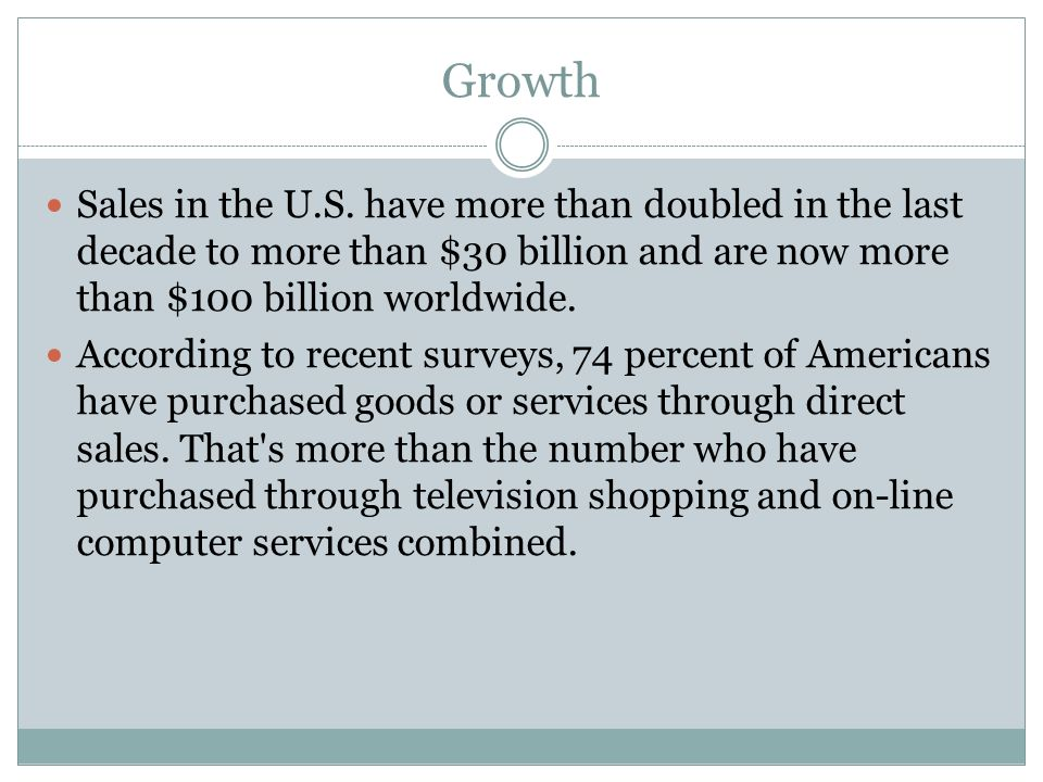 Growth Sales in the U.S.