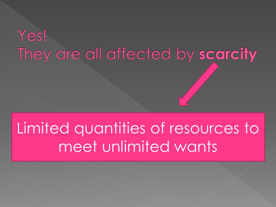 Limited quantities of resources to meet unlimited wants