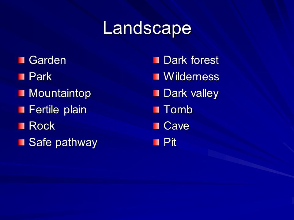 Landscape GardenParkMountaintop Fertile plain Rock Safe pathway Dark forest Wilderness Dark valley TombCavePit