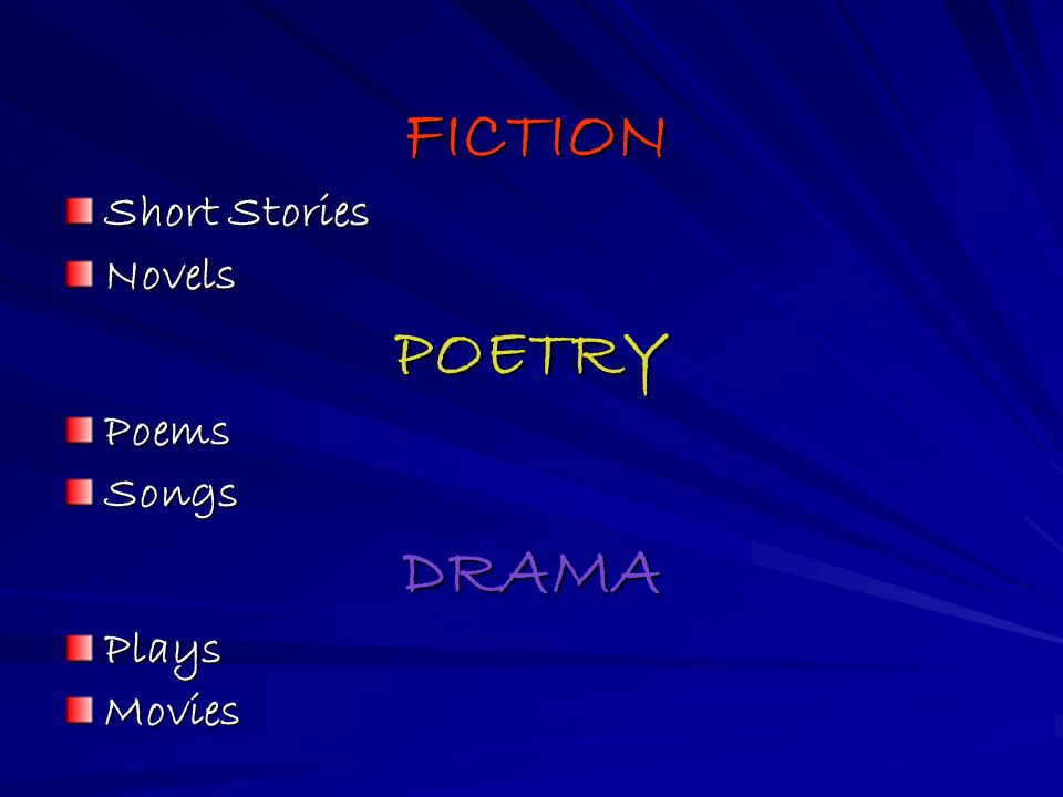 FICTION FICTION Short Stories NovelsPOETRYPoemsSongsDRAMAPlaysMovies